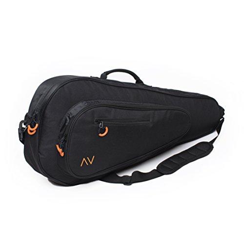Premium Tennis Bag in Black (Black/Orange)