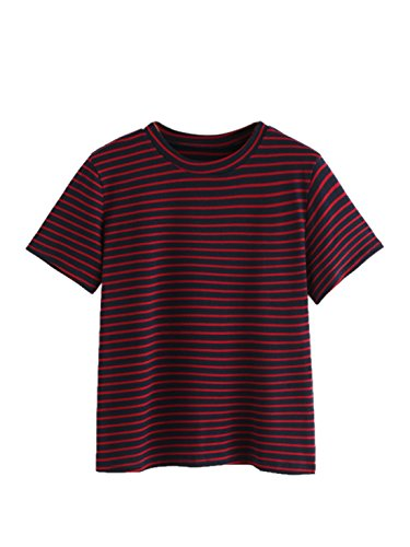 MAKEMECHIC Women's Casual Loose Striped Short Sleeve T-Shirt Tee Top Red# M
