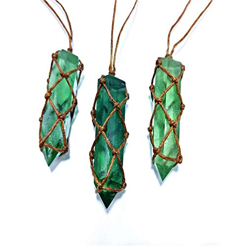 Natural Blue-Green Fluorite Column Single-Pointed Fluorite Column Hand-Woven Vintage Style Pendant Can be Used for Personal Matching Decorative car Ornaments