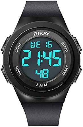 DIRAY 男の子用腕時計 デジタルスポーツLEDウォッチ 防水 バックライト ミリタリーウォッチ One Size ブラック