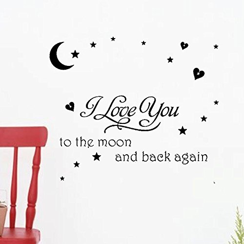 soledi black vinyl wall decal i love you to the moon and. Black Bedroom Furniture Sets. Home Design Ideas