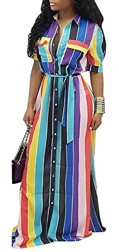 Belt Clothing Womens Dresses Rainbow (Speedle Women Casual Rainbow Stripe Button Down Shirtdress Short Sleeves Color Block Maxi Long Loose Shirt Dress with Belt Floral 2 S)