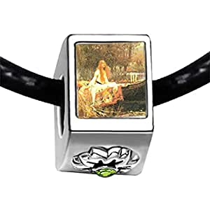 Chicforest Silver Plated The Lady Of Shallot Photo Peridot Crystal August Birthstone Flower Charm Beads Fits Pandora Bracelet