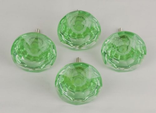 Set of 4 Large Light Green Glass Cabinet Door Drawer Knob - Crystal Glass Federal