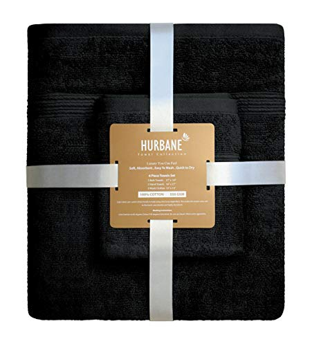 Blancho Bedding HURBANE Premium 6 Piece 550 GSM 2 ply 100% Cotton Luxury Towel Set with 2 Bath Towels, 2 Hand Towels, 2 Wash Cloth, Better Than 5 Star Hotel Grade, Black from Blancho Bedding