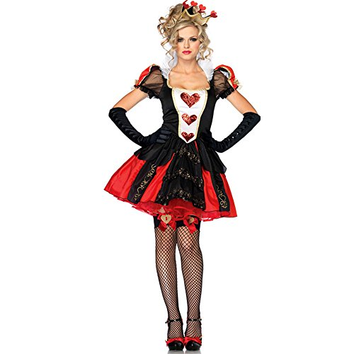 NonEcho Women's Halloween Costume Red Heart Queen Outfit Movie Character (Queen Of Hearts Halloween Costume Party City)