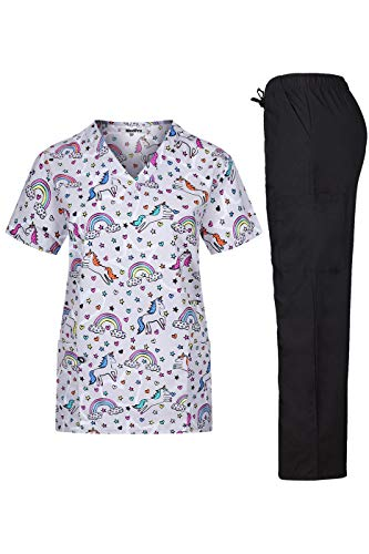 (MedPro Women's Printed Medical Scrub Set with V-Neck Top and Pants Light Grey M)