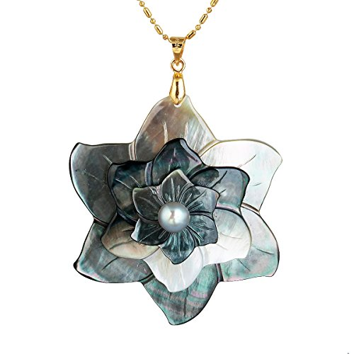 SUNYIK Flower Black Abalone Shell Pendant Necklace,