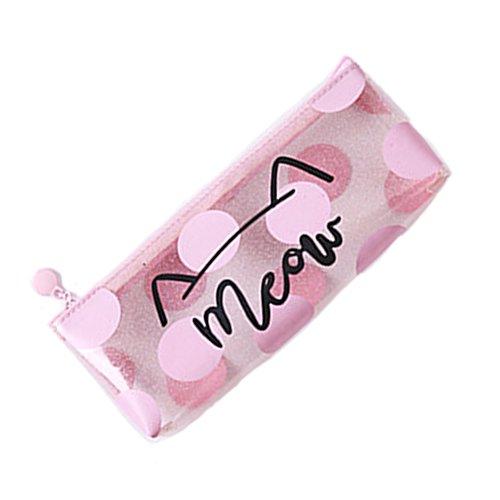 Nero della cerniera astuccio borsa O A borsa Trasparente La di cosmetico astuccio impermeabile penna nappine penna con La RxwTRUABq