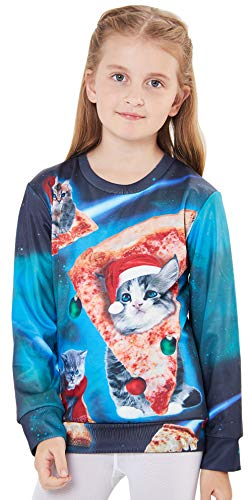 UNICOMIDEA Teen Kid Comfy and Softy Hoodies Holiday Wear Trendy Christmas Pullover with Pizza Cat Pattern Print Sweater Cardigan for 6-7T,Green
