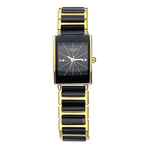 Women's Ceramic Bracelet Watches Casual Couple Dress Watch Rinestone Waterproof Square Business Wristwatch - Gold & Black