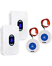 Wireless Caregiver Pager Alert System SOS Call Button for Patient Elderly Personal Home Attendant Nurse Seniors and Disabilities, 2 Receivers & 2 Portable Transmitters …