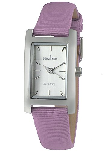 Peugeot Women's Classy Silver H Rectangle Case Watch Nylon Canvas Pastel Purple Band 3008SPR