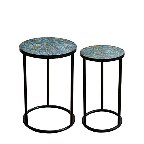 Whole Housewares Mosaic Black Metal Round Side Table - Plant Stand - Glass Top Indoor Outdoor Garden Patio Table Set of 2 (Blue Multi)