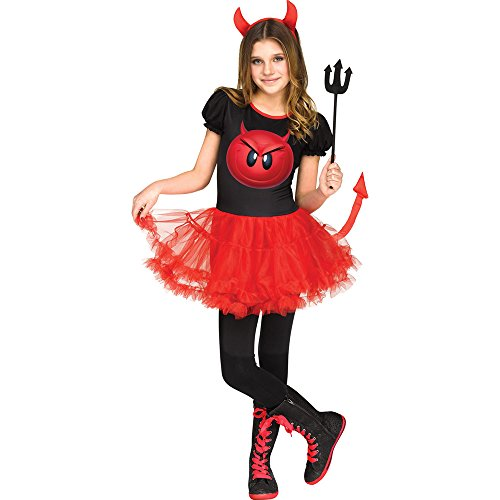 Fun World Big Girl's Devil Emoji Movie Halloween Costume Childrens Costume, Multi, MEDIUM 8-10]()
