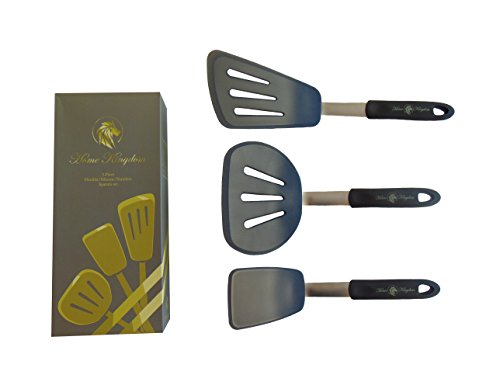 - Home Kingdom Silicone Cooking Spatula 3 Pc Set – Non Stick, Heat Resistant, Flexible, Long & Non Slip Handle – For Baking, Grilling, Mixing, Stirring, Wok, Pancakes, Eggs, Fish, Meat, Veggies & More