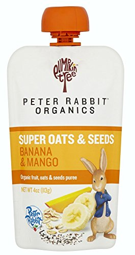 Peter Rabbit Organics Super Oats & Seeds, Banana & Mango Puree Squeeze Pouch, 4 oz (Pack of 10) ()