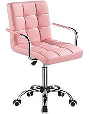 Yaheetech Kontorsstol fuskläder svängbar stol höjdjusterbar verkställande stol med hjul kontorsstol med armstöd