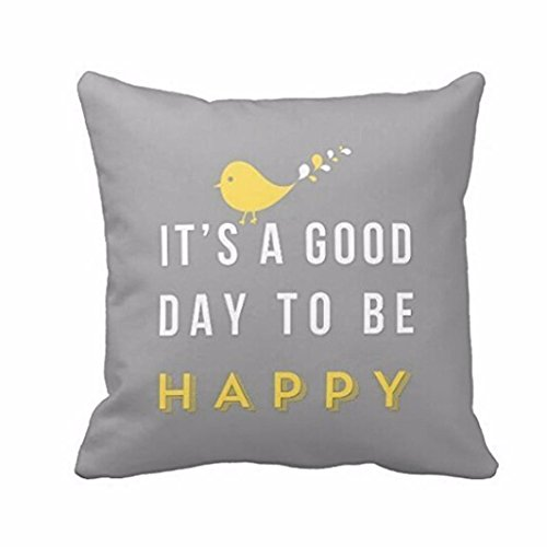 Lowprofile Yellow Bird Letter Print Square Throw Pillow Case Animal Soft Home Cushion Cover (Gray) - Pastel Satin Pillow