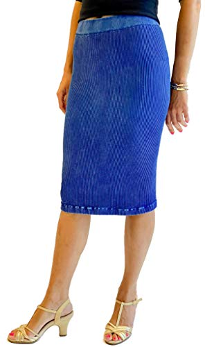 Ribbed Midi Skirt | One Size Fits Sizes 0-16 | Black Denim Silver Rose | Casual Formal Work Party Skirt | (Cobalt)