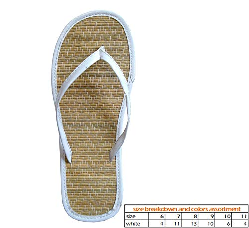 Wholesale Women's Bamboo Sandals Nice and Simple Beach flip Flop Pack of 48 (1212 White) ()