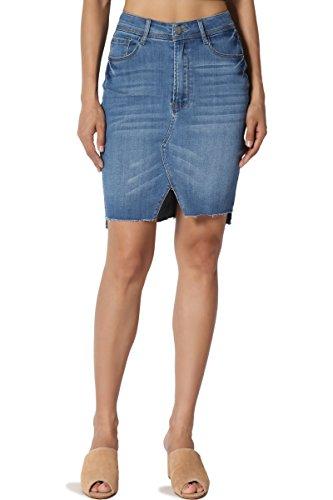 (TheMogan Junior's Hi Low Front Slit Raw Hem High Waist Pencil Denim Skirt Medium)