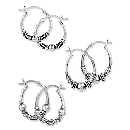 LeCalla Sterling Silver Set of 3 Pair 17mm, 20mm Tribal Bali Hoop Earrings for Teen Girl and Men