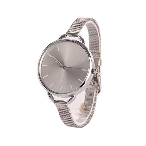 Vovotrade Mädchen-Frauen-Damen Analog Edelstahl-Quarz Elegant Uhr Modisch Zeitloses Design Klassisch Leder Römische Ziffern-Leder-analoge Quarzuhr Armbanduhr(Silber)