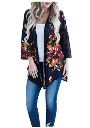 Laides' Sheer Floral Kimono Cardigan Capes Loose Cover Up Blouse Navy Blue S ()