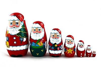 Matryoshka Russian Nesting Doll Babushka Beautiful Santa Claus Set 7 Pieces Pcs Wooden Hand Painted Souvenir Craft Gift