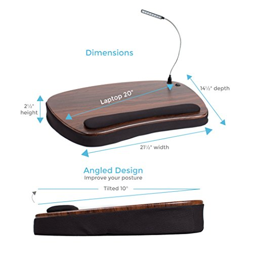 Sofia + Sam Oversized Memory Foam Lap Desk with Detachable USB Light (Black) | Supports Laptops Up to 20 Inches by Sofia + Sam (Image #4)