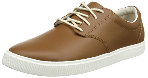 crocs Men's CitiLane Leather Lace-up Flat, Tan/White, 8 M US