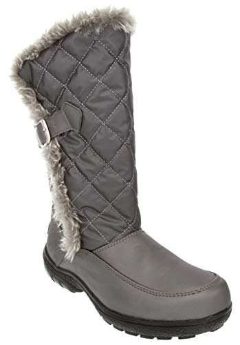 London Fog Womens Lennox Waterproof Cold Weather Snow Boot Silver 6 M US -