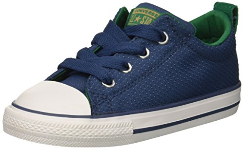 Youth Low Top Shoes - Converse Boys' Chuck Taylor All Star Street Slip on Low Top Sneaker, Blue/Grey, 13.5 M US Little Kid