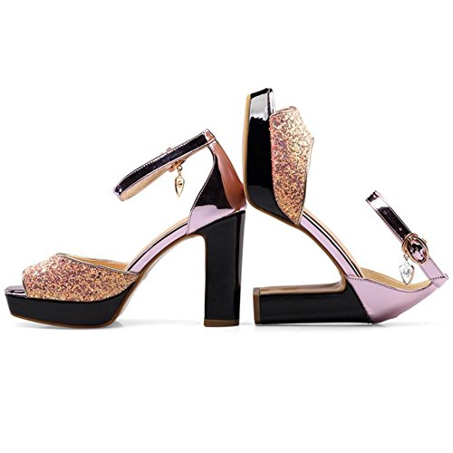 pink Sandales Toe TAOFFEN Femmes Peep naqZ7wwF