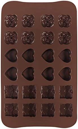 DOITOOL Kek Kalıbı Aletleri Pişirme 24 Boşluk Gül Kalp Hediye Kutusu Şekil Silikon Kendin Yap Çikolata Şeker Kalıbı Cupcake Jöle Pişirme Kalıbı (Kahve) : Amazon.com.tr: Mutfak