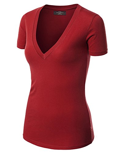 Made By Johnny WT3 Womens Basic Fitted Soft Short Sleeve Deep V Neck T Shirt S Cardinalred