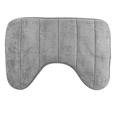 YCCTEAM U-shaped High Density Space Memory Cotton Toilet Bathroom Carpet Floor Mat (15.7 x 23.6 Inch ,Grey)