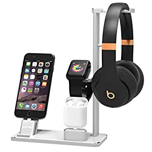 XUNMEJ 6 In 1 Apple Watch Stand Station Aluminum iWatch Charging Stand Dock Station Headphones Holder for Apple Watch Series 2 / 1 AirPods iPhone 7 7plus 6s 6plus iPad (Silver)