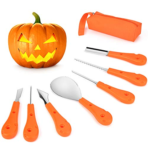 Professional Pumpkin Carving Kit,Victostar Reusable Sturdy Stainless Steel Pumpkin Carving Tools Set for Kids and Adults