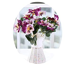 1X Bouquet Artificial Simulation Silk Flower Pansy Artificial Plant Wedding Party Home Hotel Table Decoration Double Purple 32