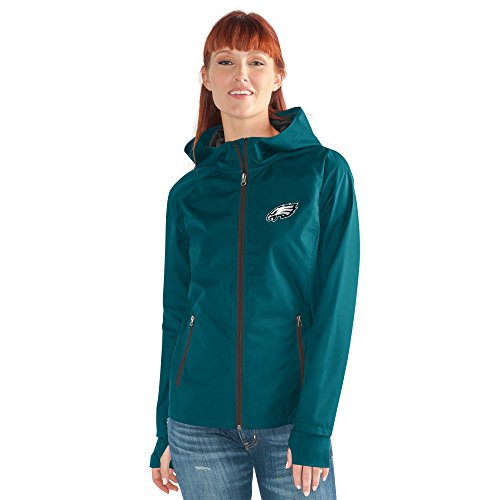 NFL Philadelphia Eagles Women's Onside Kick Light Weight Full Zip Jacket, Medium, Green