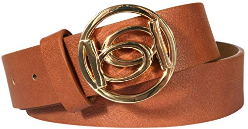 'Bebe Women\'s Designer Fashion Belt with Logo Buckle, Brown/Gold, Size Medium' from bebe