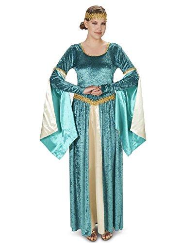 Renaissance Princess Dress (Renaissance Teal Velvet Dress Adult Costume L)