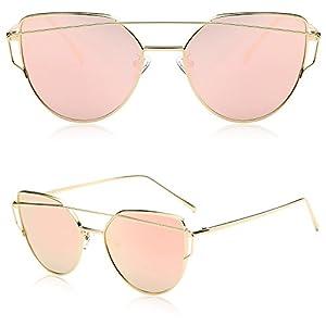 SOJOS Cat Eye Sunglasses for Women Fashion Designer Style Mirrored Lenses SJ1001