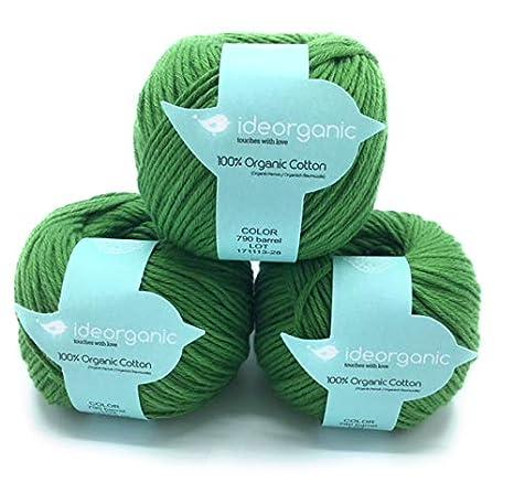 Hilo de algodón para tejer DK, 100 % orgánico, 50 g/m², colores pastel, paquete de 3 ovillos Barrel Green: Amazon.es: Hogar