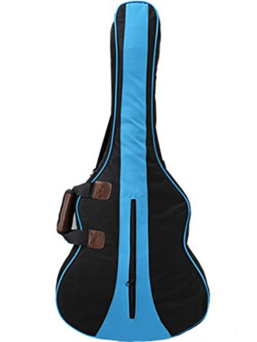 Kglobal 36 pulgadas 3/4 de nylon del algodón de la guitarra acústica Mochila Dos bolsillo trasero Funda de la guitarra eléctrica azul bolsa