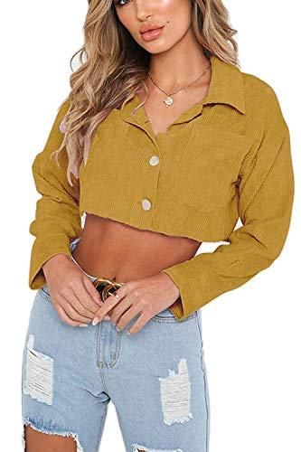 coloré Casual Crop Jaune Vestes Jaune Taille Poche Automne Avec Denim Femmes Coat Printemps Large Oudan Solide HwXPq5S