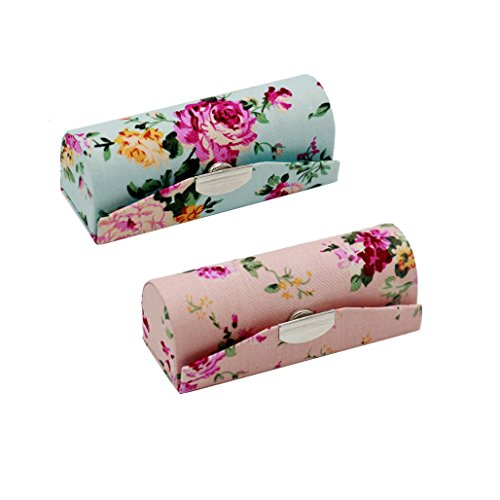 Metrical 2 Pcs Retro Style Flower Print Lipstick Case Holder with Mirror (Style B) ()