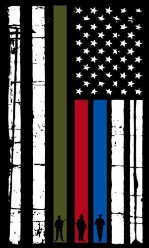 Thin Blue Line Vertical Flag Firefighter, Police, Military Decal Vinyl Sticker 5